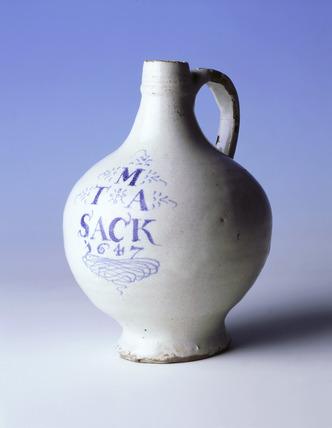 Tin-glazed ware sack bottle: 17th century