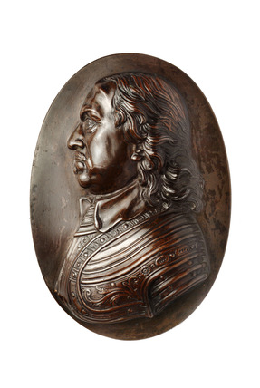 Copper plate with portrait of Oliver Cromwell: 17th-18th century