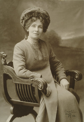 Studio portrait photograph of Mrs Emmeline Pankhurst: 1910