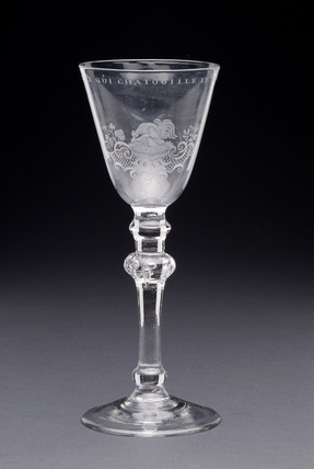 Wine glass with round funnel bowl: 1760