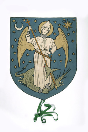 Suffrage banner depicting St George: 1908-1911