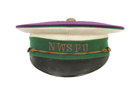 NWSPU peaked cap of purple, white and green cloth: 1913-1914