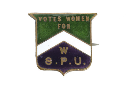 Shield shaped badge associated with the suffragette movement: 1906-1914