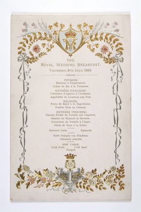 Menu card for The Royal Wedding Breakfast: 1893