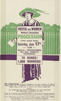 Handbill advertising the Women's Coronation procession: 1911