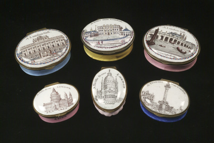 Selection of souvenir enamel boxes: 18th century