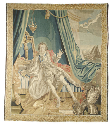 Tapestry depicting the actor David Garrick in costume: 18th century