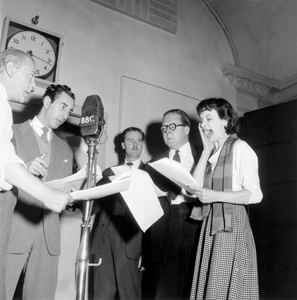 Recording the radio programme 'P.C. 49': 1953