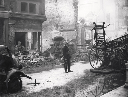Bomb damage at Whitecross Street: 1940