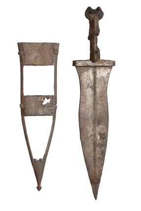 Roman iron dagger and scabbard mount