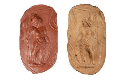 Roman ceramic mould in pale red clay