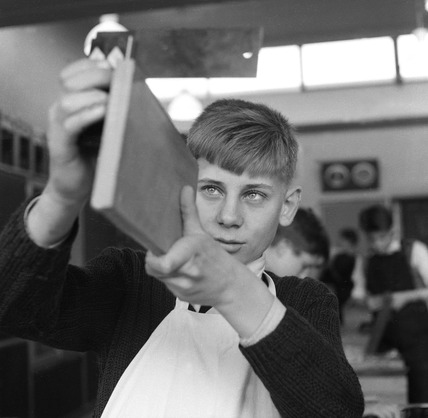 Boy at a woodwork class: 1959