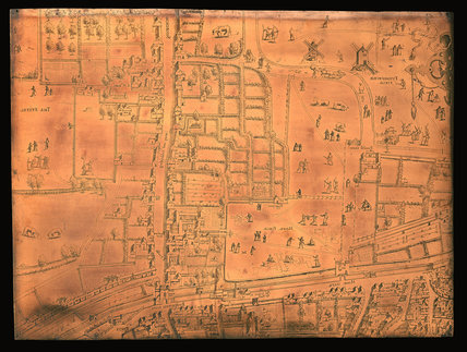 The Moorfields section of the Copperplate Map: 1559