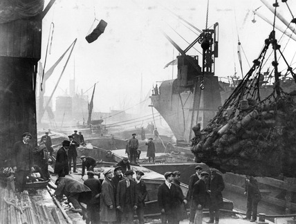 Unloading coil at Millwall Dock: 20th century
