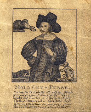 Mary Frith alias Mall [sic] Cutpurse. 1662.