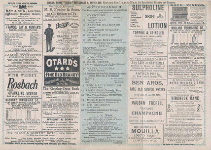 Royal Holborn Theatre of Varieties programme: 1900