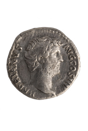 Roman denarius with the head portrait  of Hadrian: 2nd century