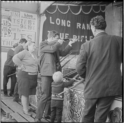 Shooting gallery at Hampstead Heath fair: 1968