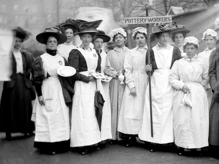 Suffragette procession of  pottery workers: 1909