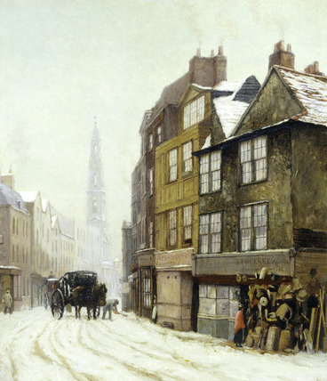 Drury Court with the Church of St Mary-le-Strand: 1880
