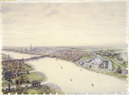 Reconstruction of London as it would have looked in about 1400 (A.D): 20th century