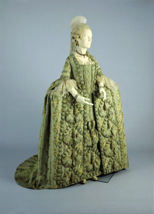 French hooped silk brocade dress: 18th century