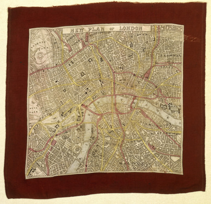 Commemorative handkerchief map: 19th century