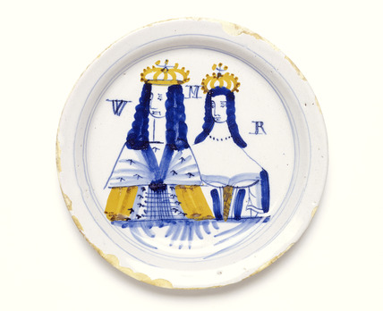 Tin-glazed earthenware plate: 17th century