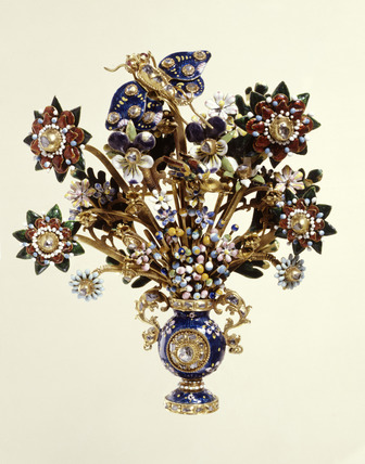 Gold jewelled and enamelled aigrette: 18th century