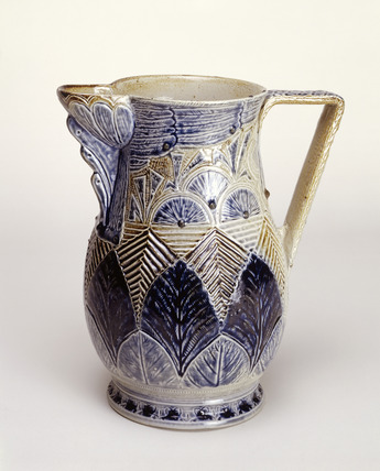 Blue and grey martinware jug: 1873
