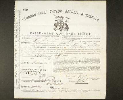 Passenger's contract ticket to Australia: 1873