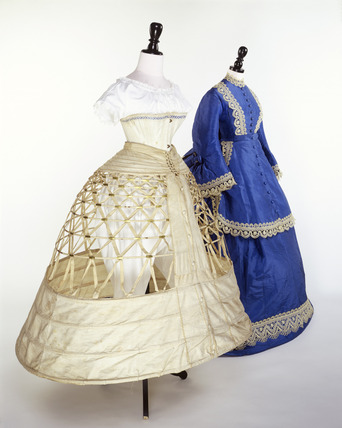 Blue wedding dress with white corset and underskirt: 19th century