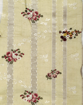Detail of a piece of pale yellow silk ground: 19th century