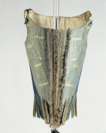 wool silk and linen corset 17th century at museum of london