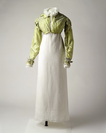 Green silk self striped spencer: 19th  century