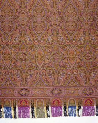 Jacquard loom rectangular shawl: 19th century