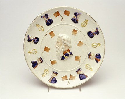 Earthenware commemorative plate: 19th century