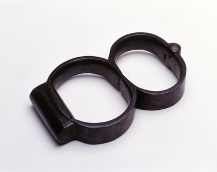 Steel handcuffs from Millbank prison: 19th century