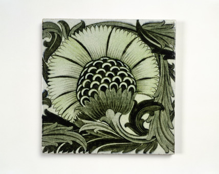 Earthenware De Morgan tile: 19th century