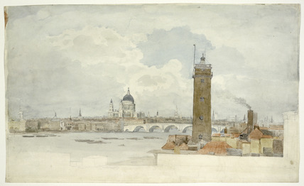 View of the Thames, Blackfriars Bridge and the City: 1811