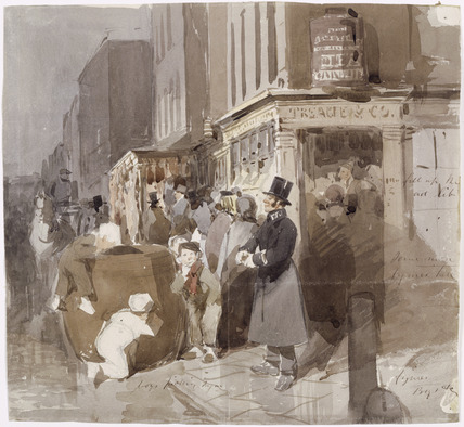 Watercolour street scene: 19th century