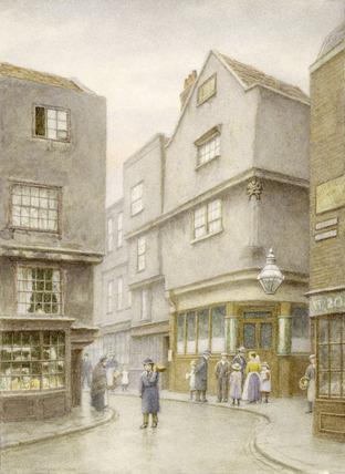 View down Cloth Fair with Dick Whittington Public House: 1888