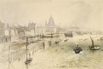 The Thames Embankment Works between Waterloo and Blackfriars Bridges: 1865
