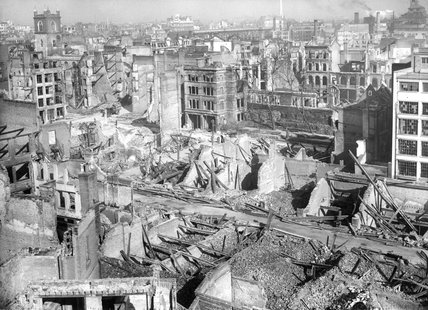 Bomb Damage at London Wall and Aldermanbury Avenue: 1941