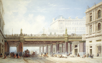 Holborn Viaduct from Farringdon Street: 19th century