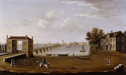 Putney Bridge and Village from Fulham: 1750
