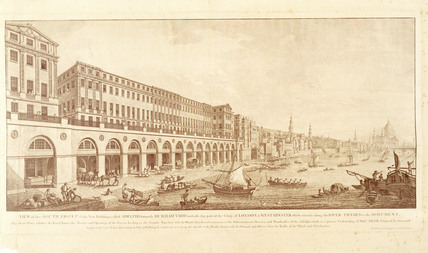 View of the South front of the New Buildings called Adelphi, formerly Durham Yard and also that part of the Cities of London & Westminster which extends along the river Thames to the Monument.1768