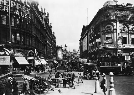 Shaftsbury Avenue looking northeast: 20th century