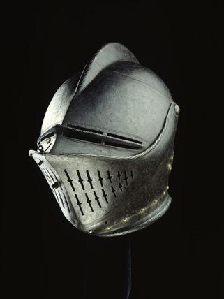 Steel tilting helmet: 17th century