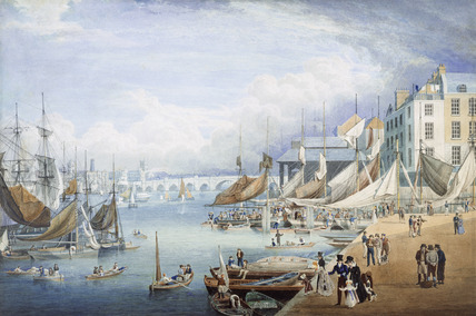 London Bridge from Custom House Quay: 19th century